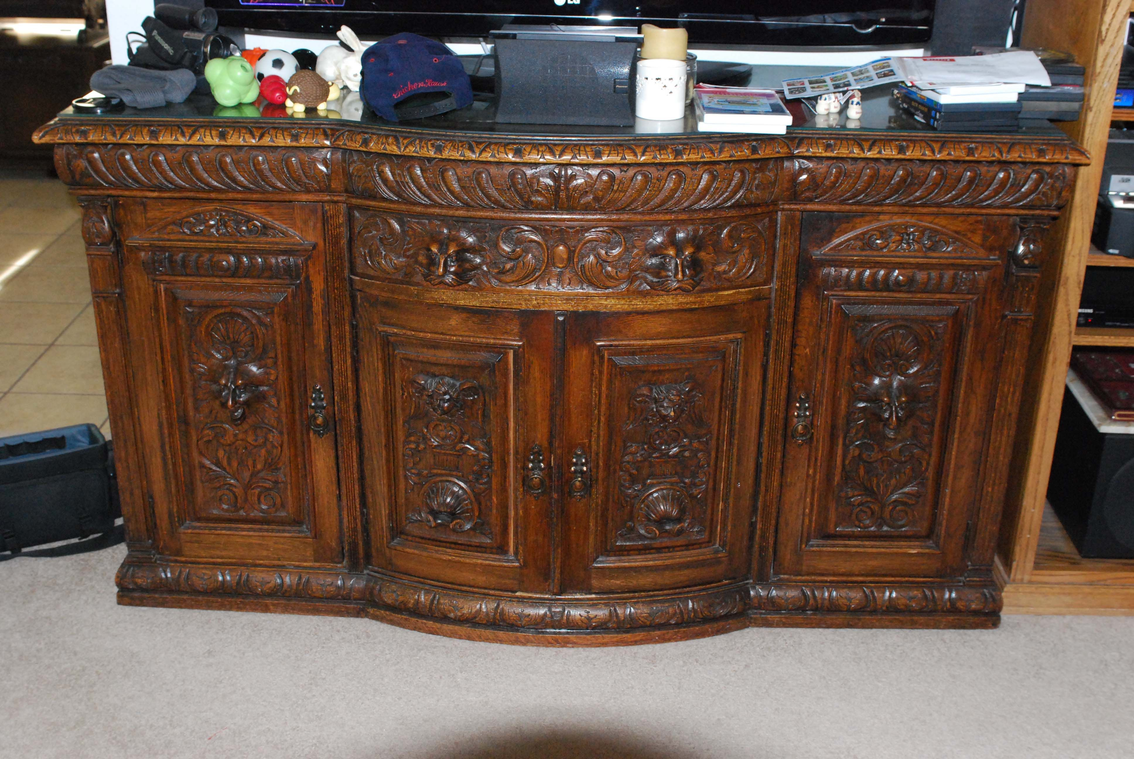 Antique Furniture Value Lookup Massive Green Man Gothic Sideboard With  Greenman Doors And Angel