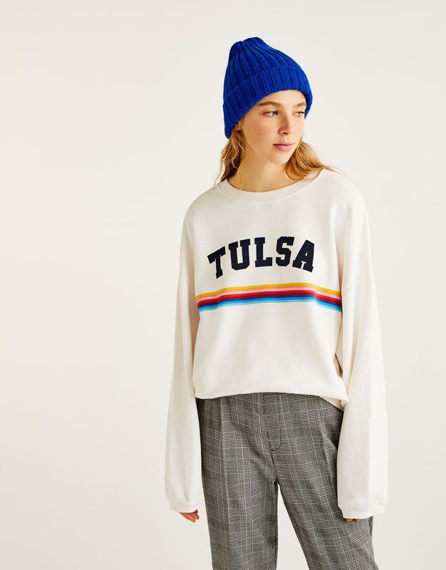 Sudadera Texto Arcoiris Sudaderas Ropa Mujer Pull Bear Espana Sweatshirt Kleding Sweater