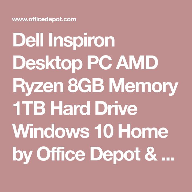 Dell Inspiron Desktop Pc Amd Ryzen Gb Memory Tb Hard Drive