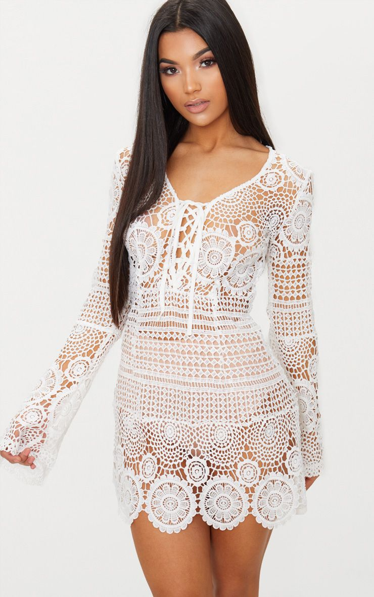 White Tie Front Flare Sleeve Crochet Lace Bodycon Dress In 2020 Crochet Dress Lace Shift Dress Lace Bodycon Dress