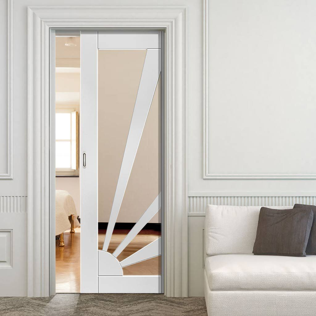 Single Pocket Calypso Aurora Shaker White sliding door system in one size width with clear glass. #pocketdoor #jbkindpocketdoor #glazedpocketdoor & Calypso Aurora Shaker White Single Pocket Door - Clear Glass ...