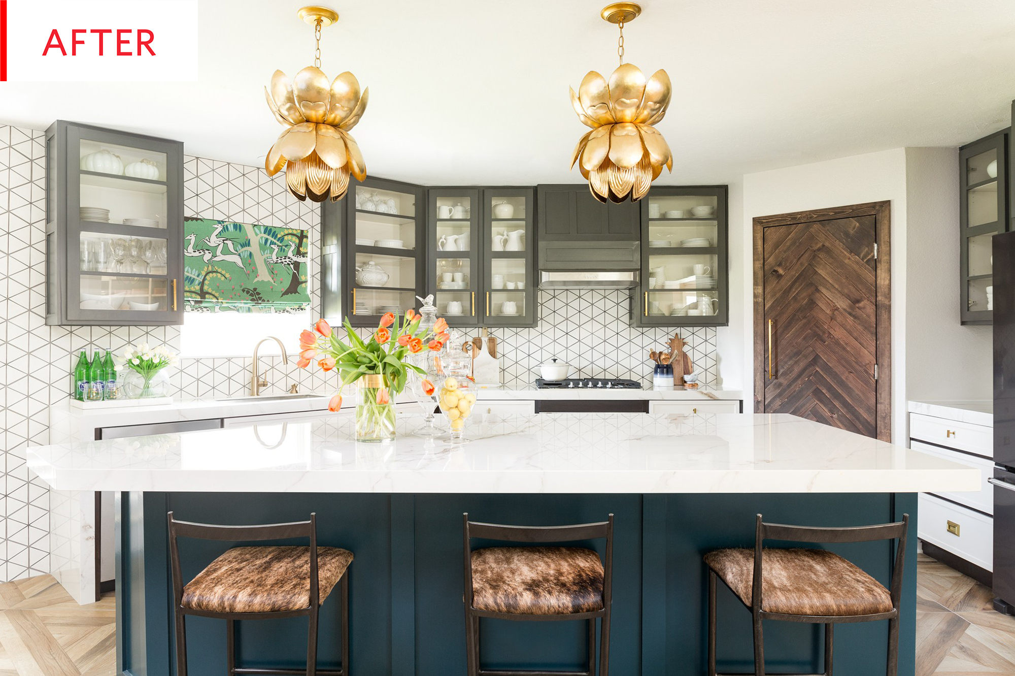 Before And After This Kitchen Now Brims With Life Texture And Personality New Kitchen Cabinets Kitchen Design Geometric Kitchen