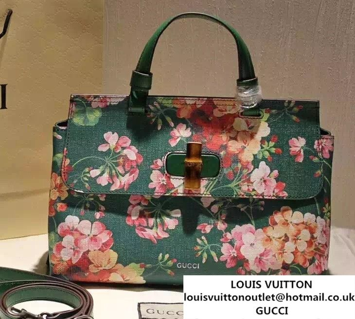 452294f3386 Gucci Bamboo Daily Blooms Print Top Handle Bag 392013 Green 2016 ...