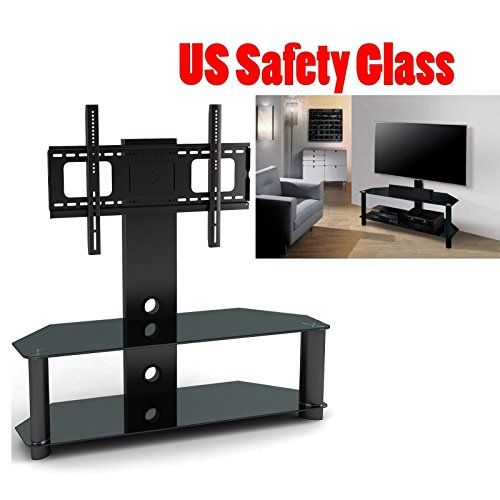 2xhome Tv Stand With Shelves Tempered Glass Shelf Shelving