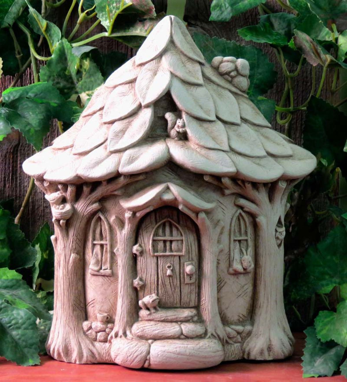 Any Creature Would Be Happy To Call This Delightful Stone Critter Cottage By Carruth Studio Home Hand Cast I Clay Fairy House Clay Fairies Fairy Garden Houses