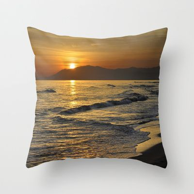 Last sunset of the summer Throw Pillow by Guido Montañés - $20.00