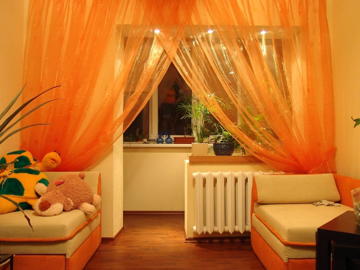 Orange Sheers | Light Living Room Orange Curtains | Orange Curtains And  Drapes