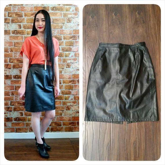 Vintage 80s Black Genuine Leather MARCO MORANI High Waist Short Pencil Skirt by LuoLuv