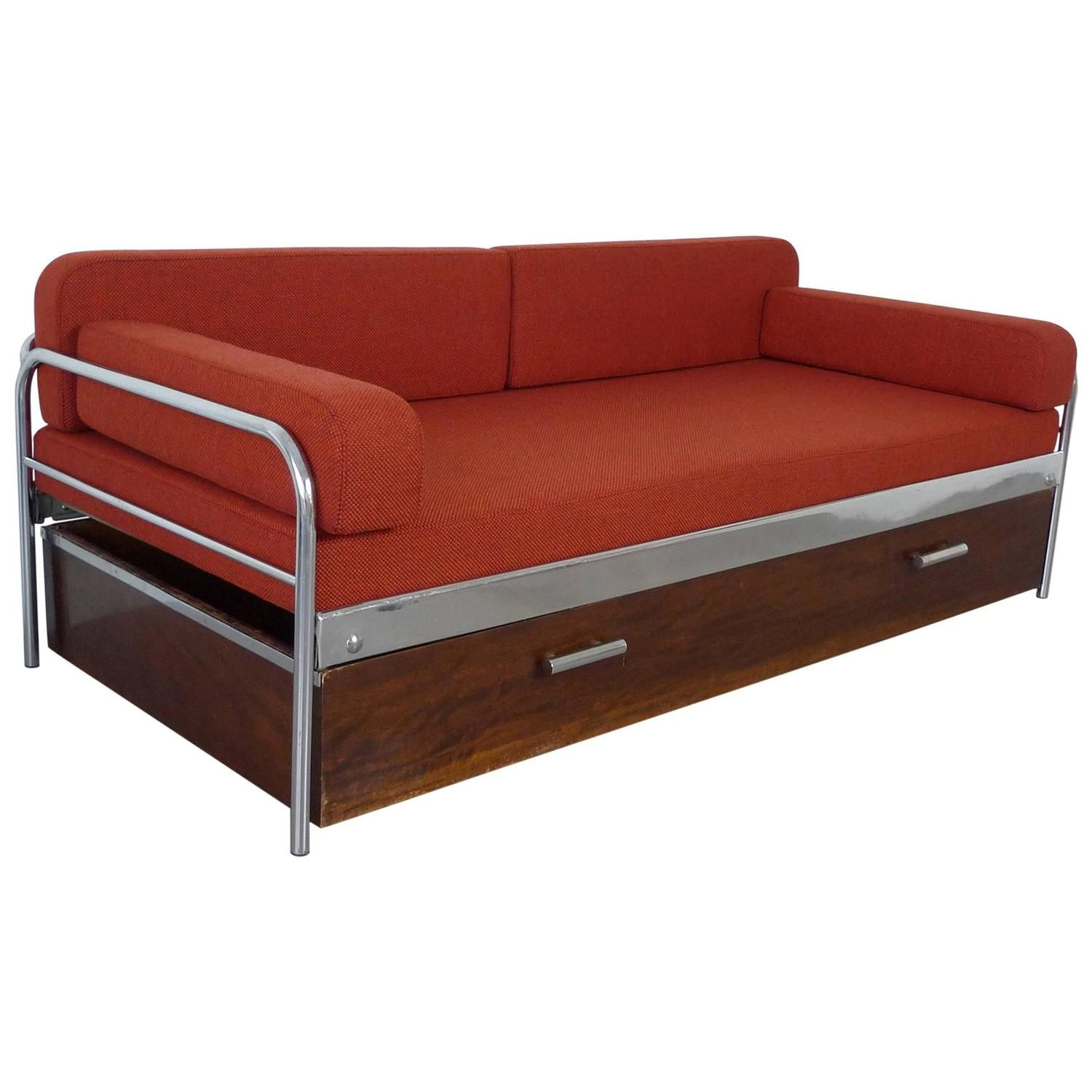 1930s Steel Tube Sofa Bed By Mucke Melder Czechoslovakia 1stdibs Com Furniture Vintage Sofa Sofa