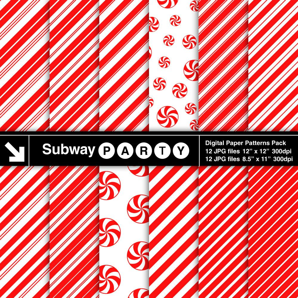 Christmas Candy Cane Stripes and Peppermints Digital