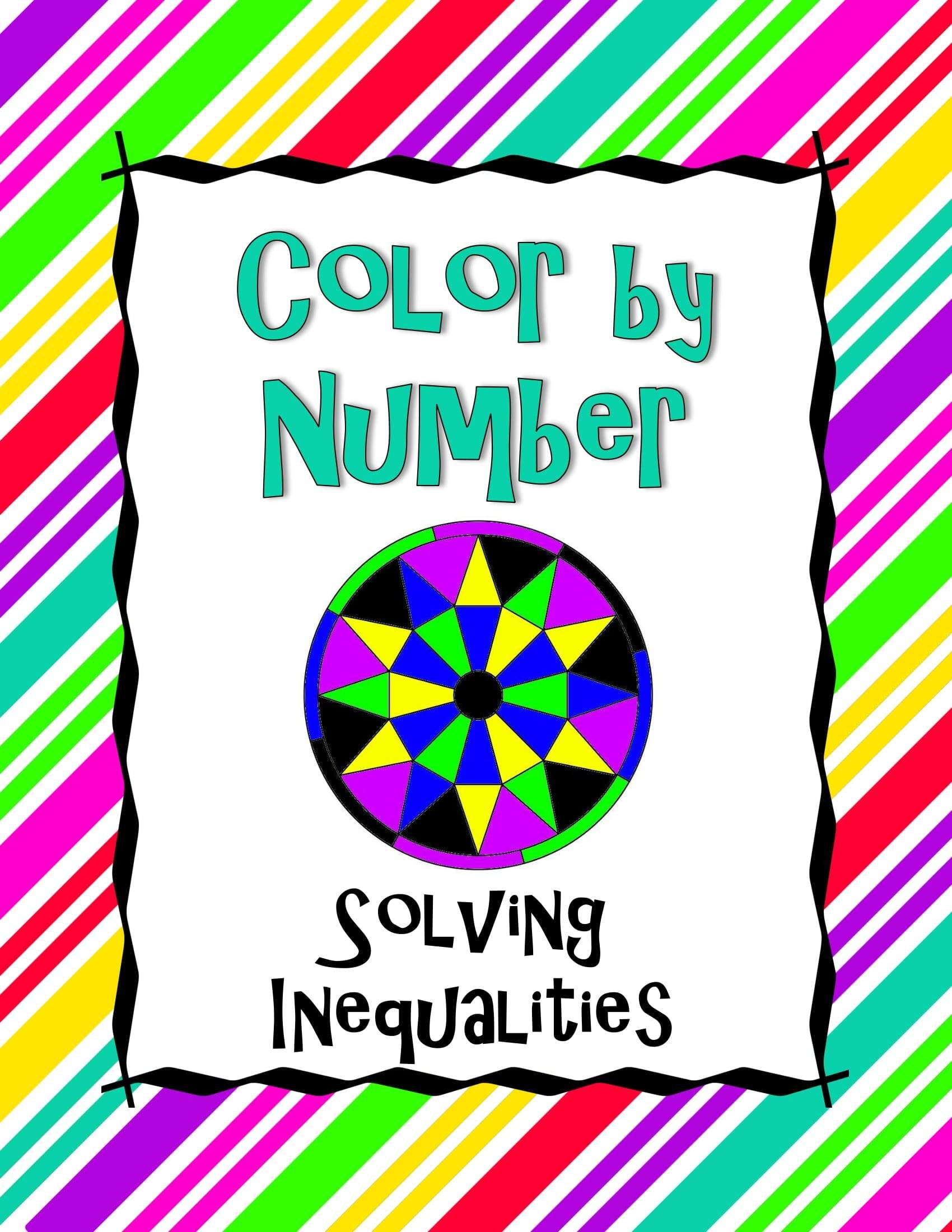 Solving inequalities color by number solving equations
