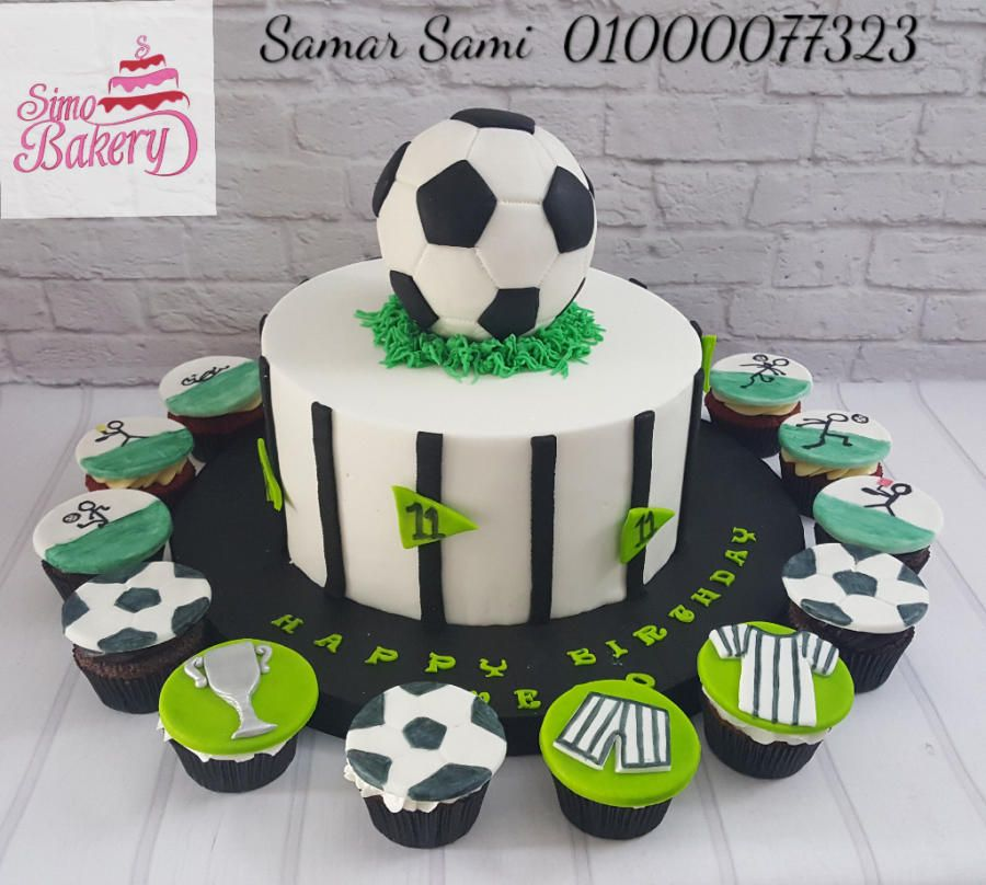 Soccer Ball Cake And Cupcakes By Simo Bakery Soccer Ball Cake Birthday Cakes For Men Soccer Cake