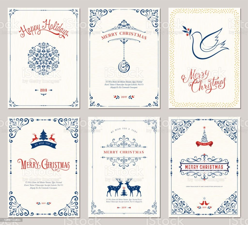 Ornate Merry Christmas Greeting Cards Templates Vector Illustration Christmas Greeting Card Template Merry Christmas Card Greetings Greeting Card Template