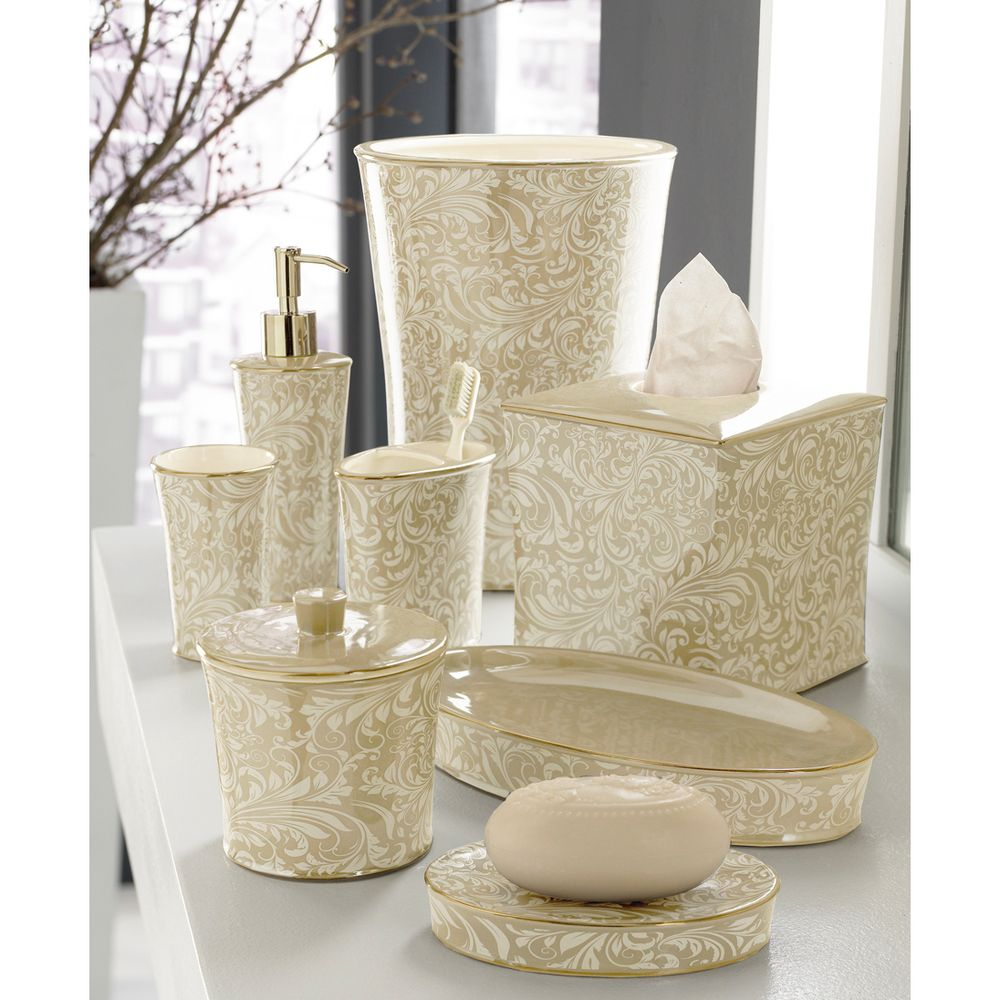 Trump Home Bedminster Creme Brulee Scroll Bath Accessory Collection ...