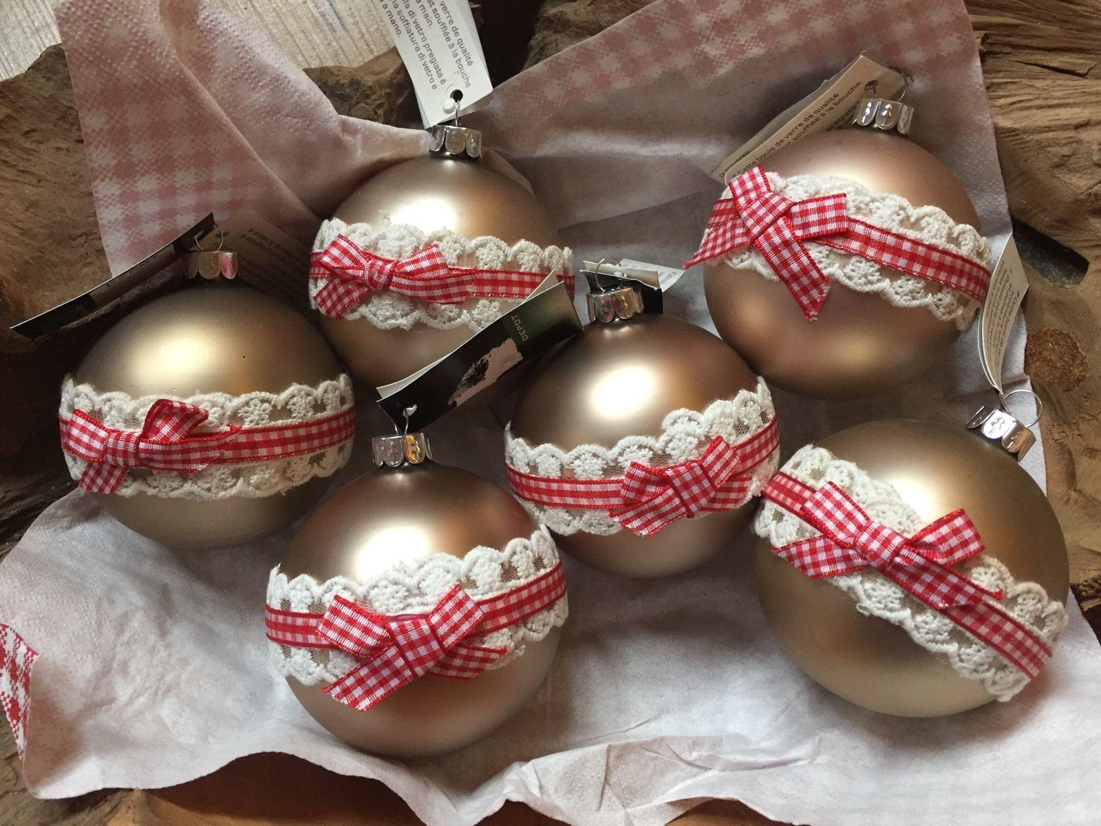 Christbaumkugeln Kariert.6 Christbaumkugeln Weihnachtsbaumkugeln Landhaus Stil Rot Weiß
