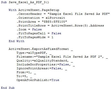 Screenshot of VBA code to save as PDF test Pinterest Pdf and