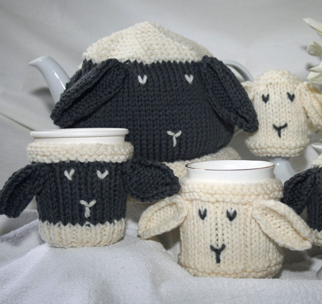 Knitting patterns for sheep cozy set pattern set includes sheep knitting patterns for sheep cozy set pattern set includes sheep themed tea cosy mug bankloansurffo Gallery