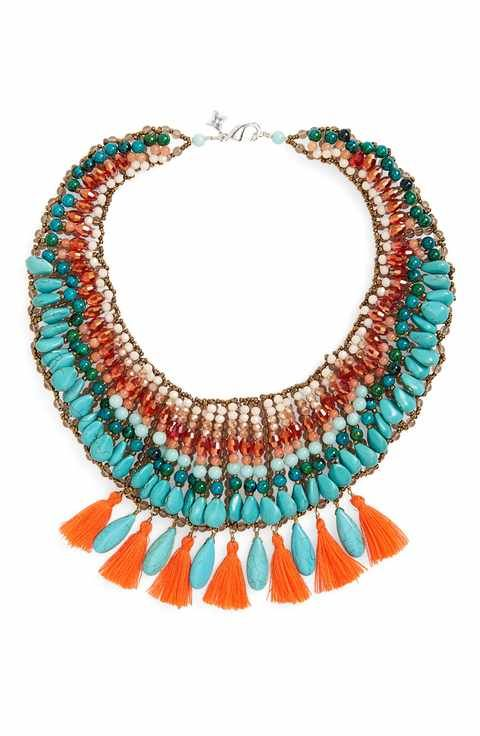 Panacea Turquoise Tassel Statement Necklace Wu2or5DjCe