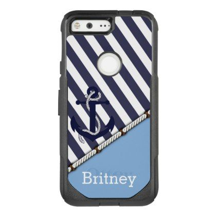#stylish - #Your Name On Cute Boat Anchor Retro Stripe Pattern OtterBox Commuter Google Pixel Case