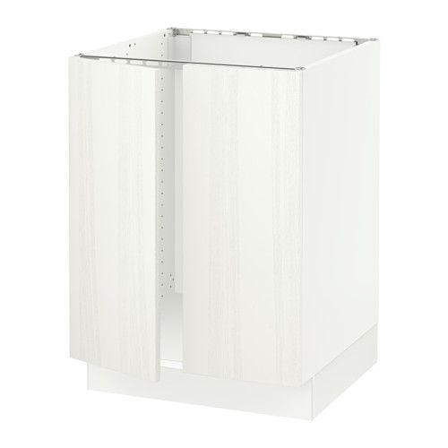 SEKTION Base cabinet for sink + 2 doors, white, Råsdal white white Råsdal white ash 24x24x30