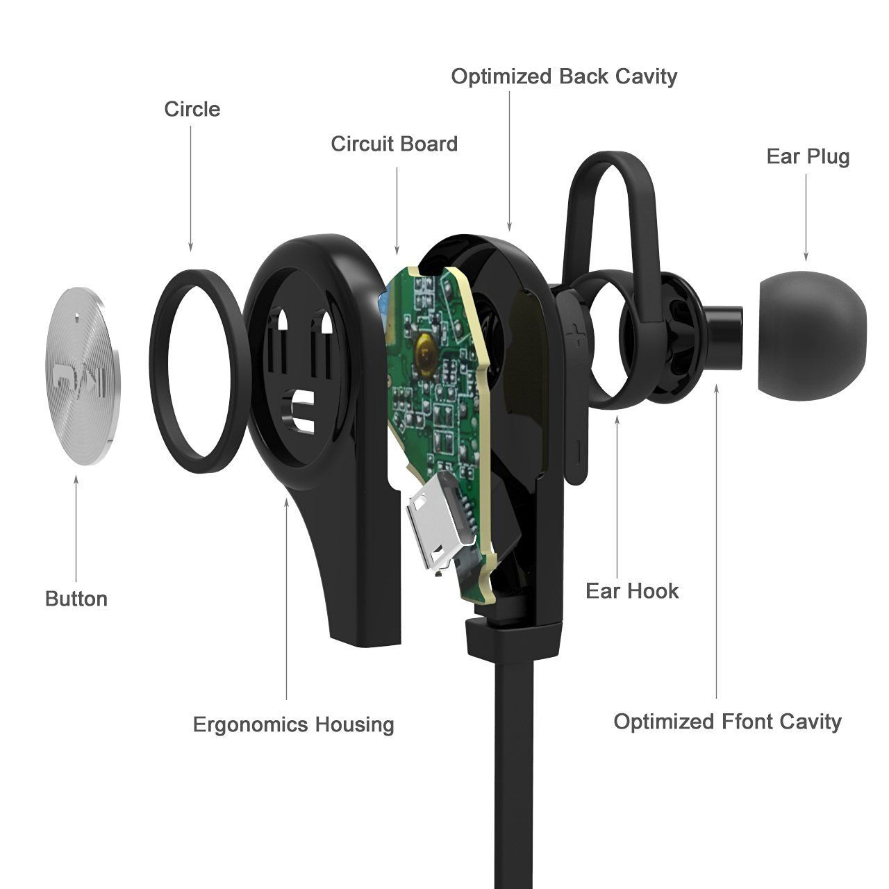Wireless Bluetooth Headphones Lightweight Sport Earbuds