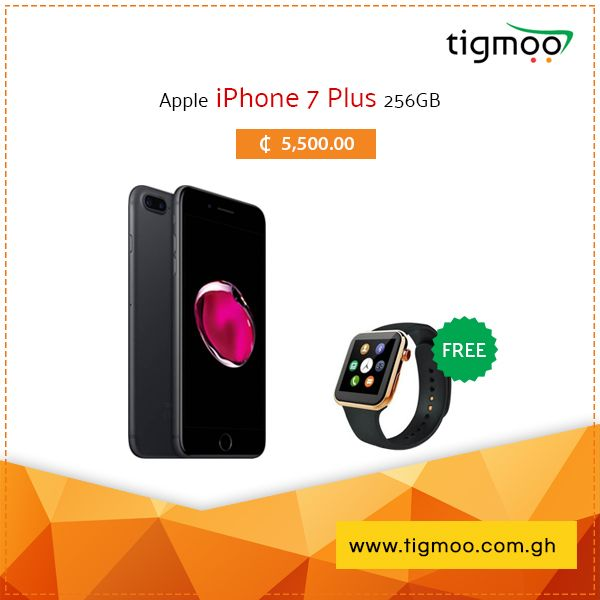 Get a Free #SmartWatch with #Apple #iPhone7Plus 256 GB in Black color at #Tigmoo, #Special #SalePrice of ZMW ₵5,500 https://www.tigmoo.com.gh/apple-iphone-7-plus-256gb-black-with-free-smart-watch.html