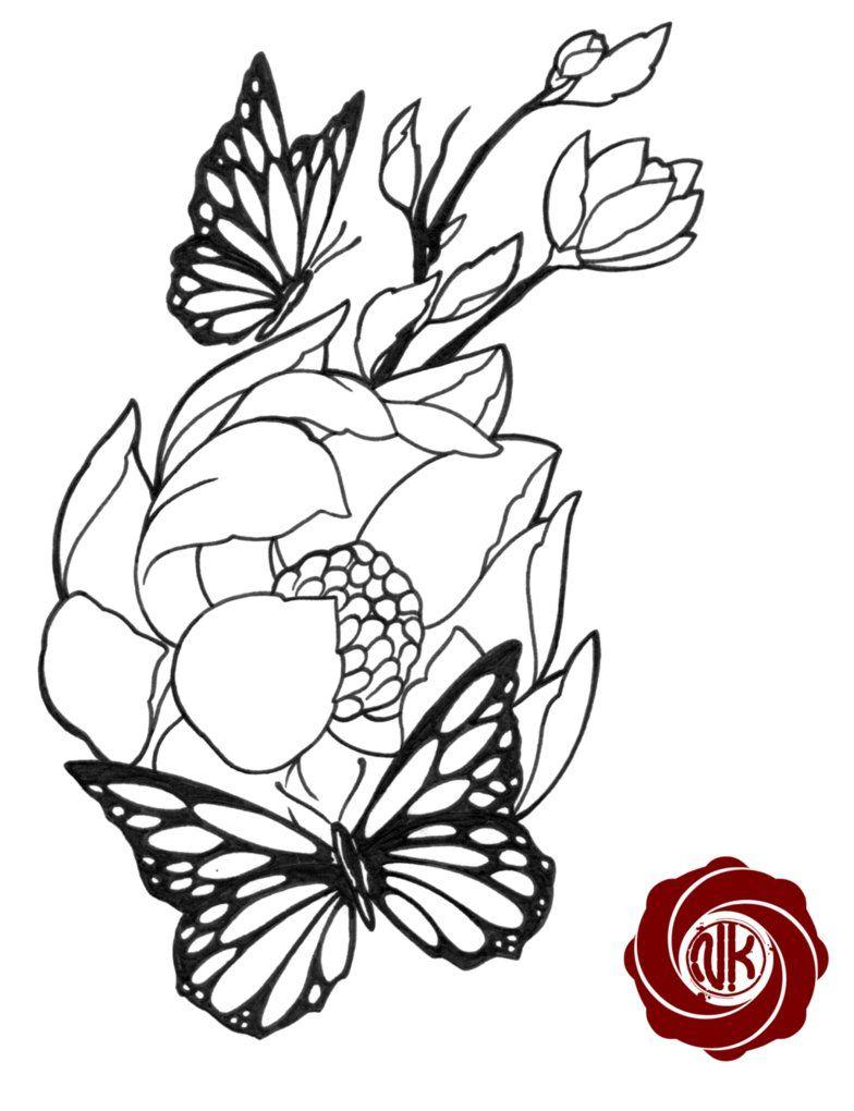 Butterflies and flowers tattoo design