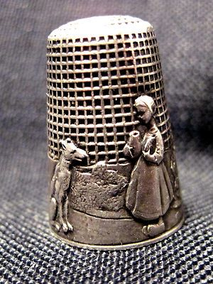 Late 19th Century Marked Silver French Fable Thimble Red Riding Hood & Wolf