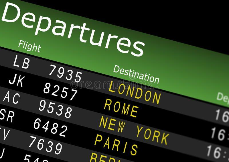 Airport Departures Board. Showing flight information ,