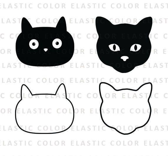 Cat Face Svg Cat Face Clipart Cat Face Digital Vector Svg Etsy In 2021 Cat Face Clip Art Face Outline