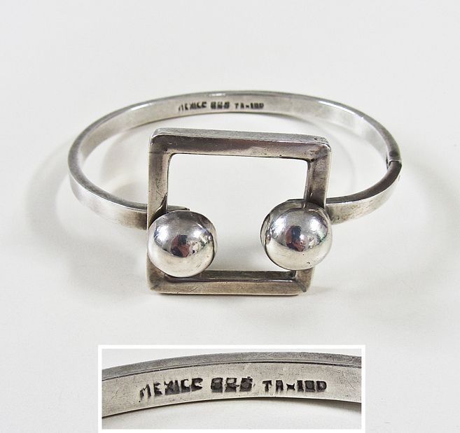 UNKNOWN MAKER: 925 Sterling Silver Geometric Modernist Bracelet #TA-100 by Unknown Designer, Taxco, Mexico