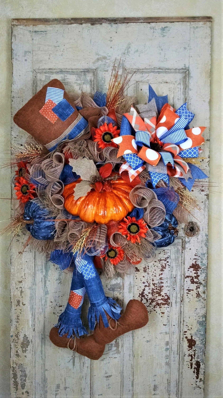 Photo of Autumn wreath, front door wreath, scarecrow wreath, pumpkin wreath, autumn net wreath, scarecrow decor, character wreath, autumn sunflower wreath