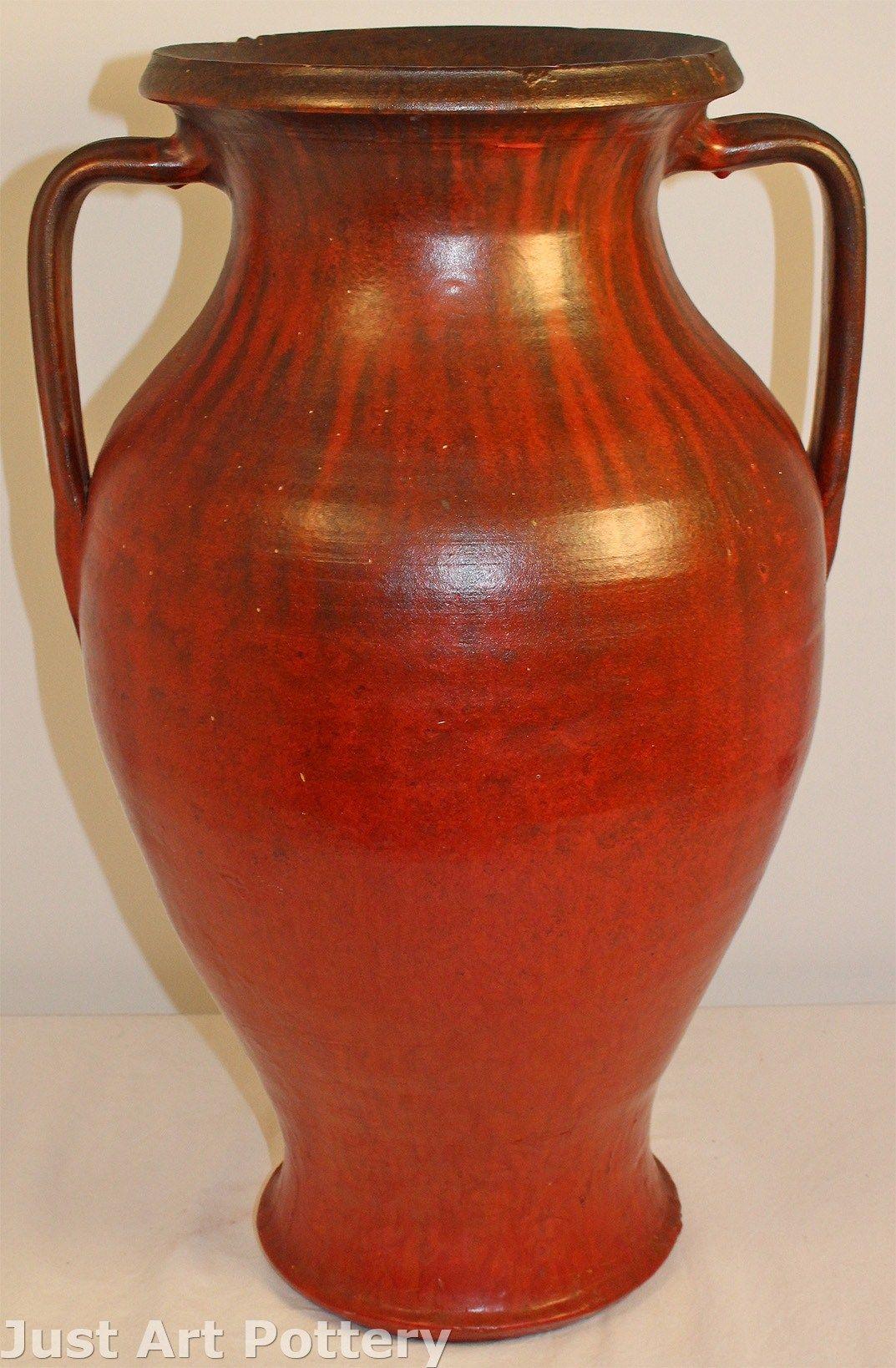 Carolina Cole Pottery Chrome Red Handled Floor Vase From Just Art Pottery Vazolar