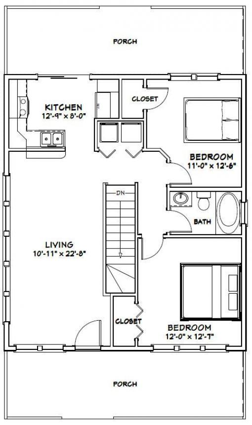 Framing A 10x10 Room: 28x32 House -- #28X32H2 -- 848 Sq Ft