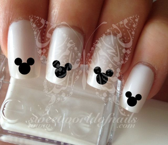 Mickey Mouse Face silhouette Nail Art Nail Water Decals | Uñas postizas