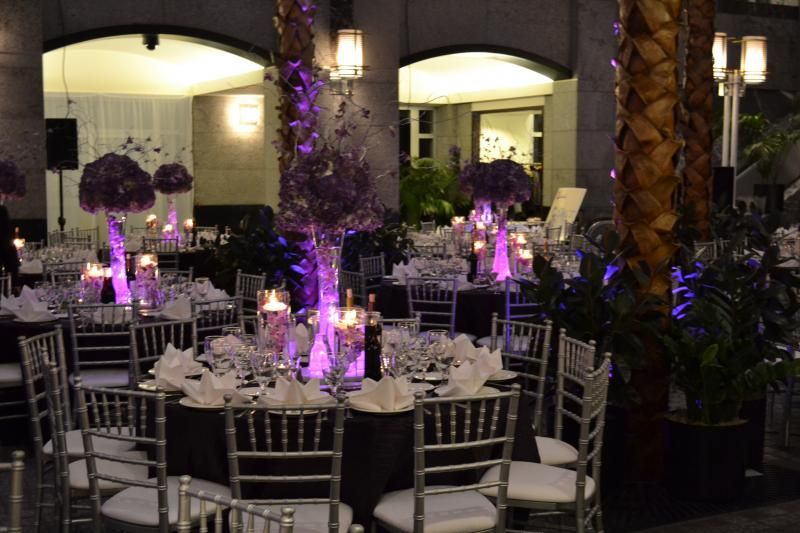 Wedding Table Decorations With Dark Tablecloths Purple Linens Tablecover Tablecloth Silver Chiavari