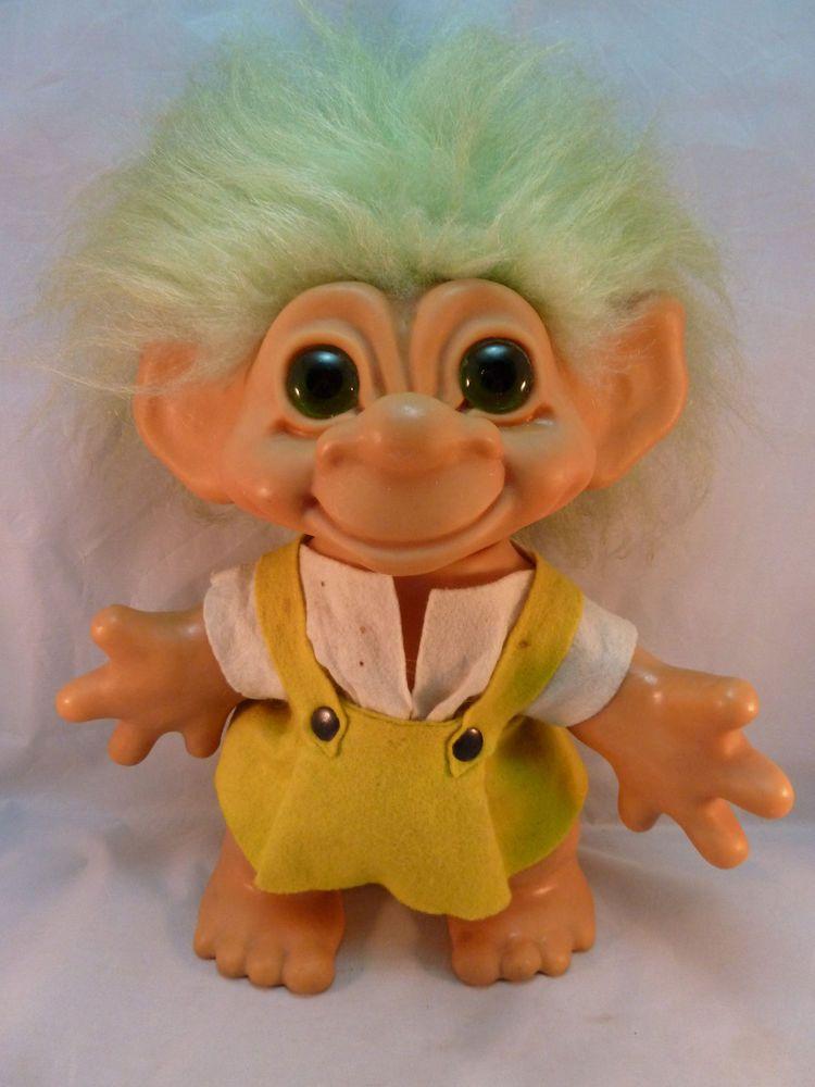 Dam Things Troll Doll Vintage 1964 12 Inches Tall Rare Green Eyes Hair Dolls