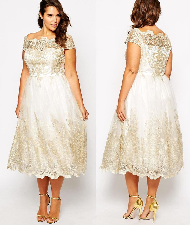 638bfbd31514 This gorgeous plus size tea length wedding dress is everything you're  looking for and only $125. Check out the ivory lace number before it's gone.