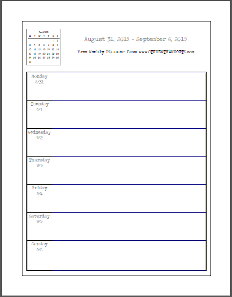 Weekly School Planner   This Academic Calendar Is Free