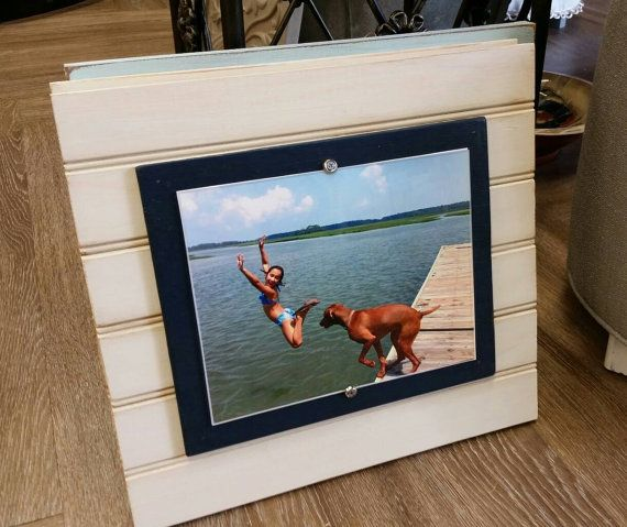 Handmade Beadboard Picture Frame To Hold 8x10 Photo Oyster White