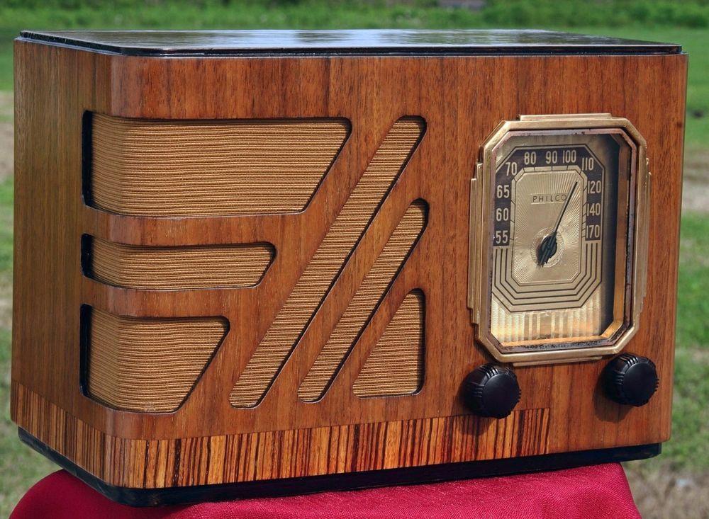 Vintage 1938 Philco Antique Wood Tube Table Radio Fully Restored Works Great Antikes Holz Retro Radios Antikes Radio