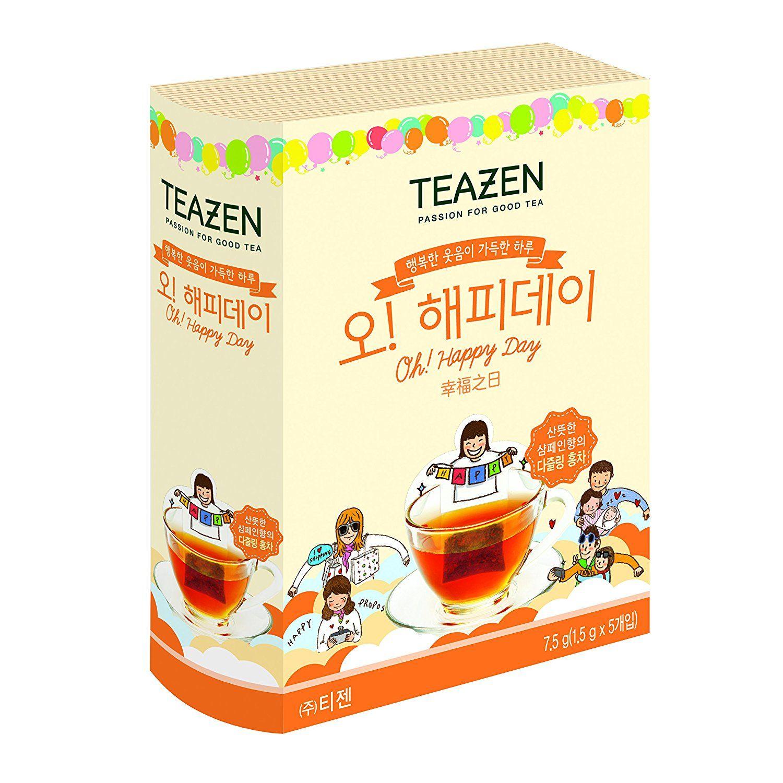Teazen Korean Modern Single Serve Oh Happy Day Cute Design Tea Bags Lipton Pyramid English Breakfast 25s 75g