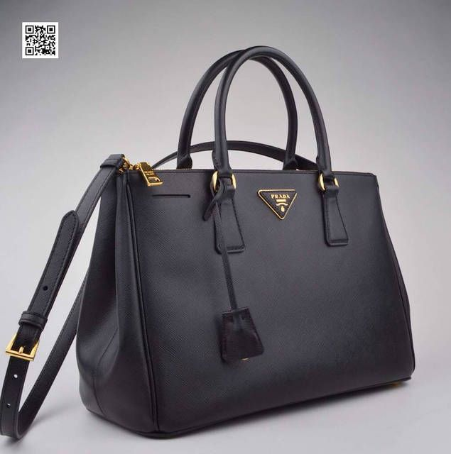 Prada Black Saffiano Doublezip Executive Tote Bag