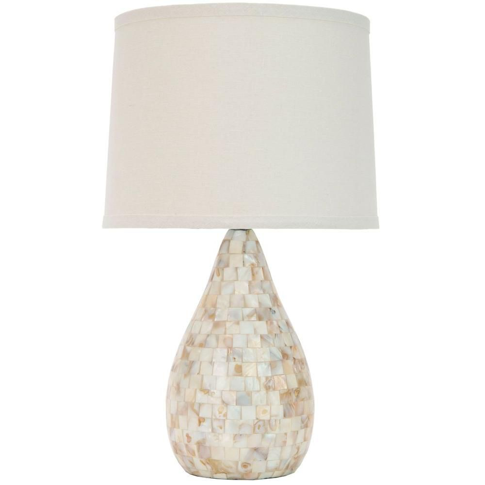 Safavieh Lauralie 20 5 In Cream Capiz Shell Table Lamp With Off White Shade Lits4011a The Home Depot Shell Lamp Lamp Table Lamp