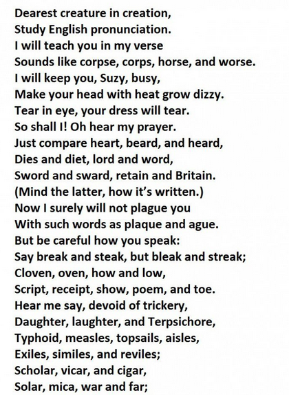 Only 1 Out Of 10 People Can Pronounce Every Word In This Poem Accurately Words School Quotes Funny Poems