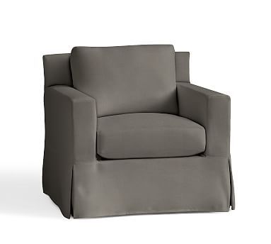 York Square Arm Slipcovered Armchair, Down Blend Wrapped Cushions, Washed Linen/Cotton Metal Gray