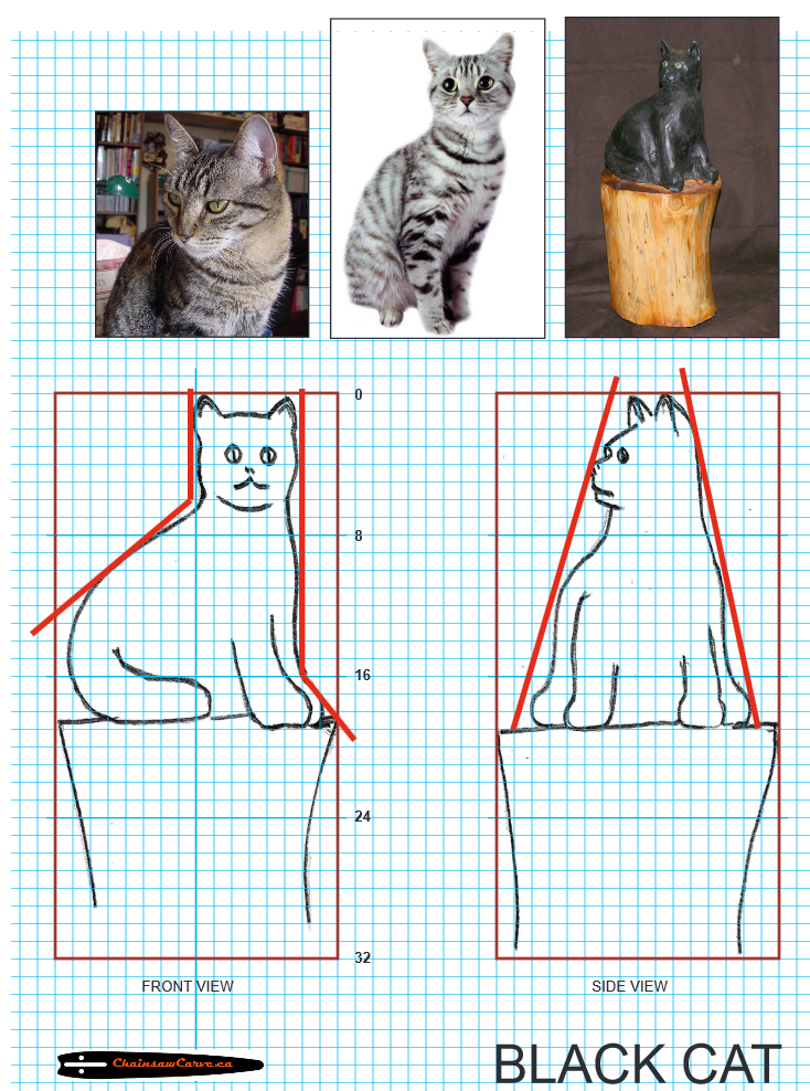 Chainsaw Carving pattern free cat. https://www.facebook ...