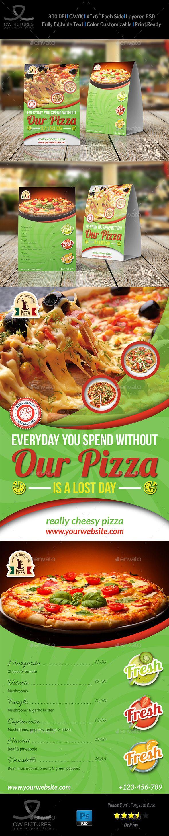 Pizza Restaurant Table Tent Template | Folletos, Revistas y Tarjetas