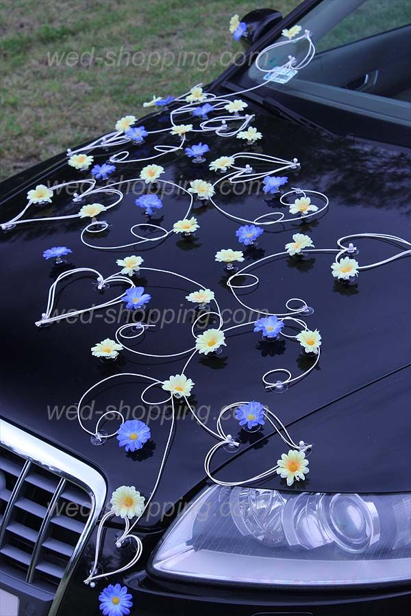 Décoration voiture mariage marguerites jaunebleu
