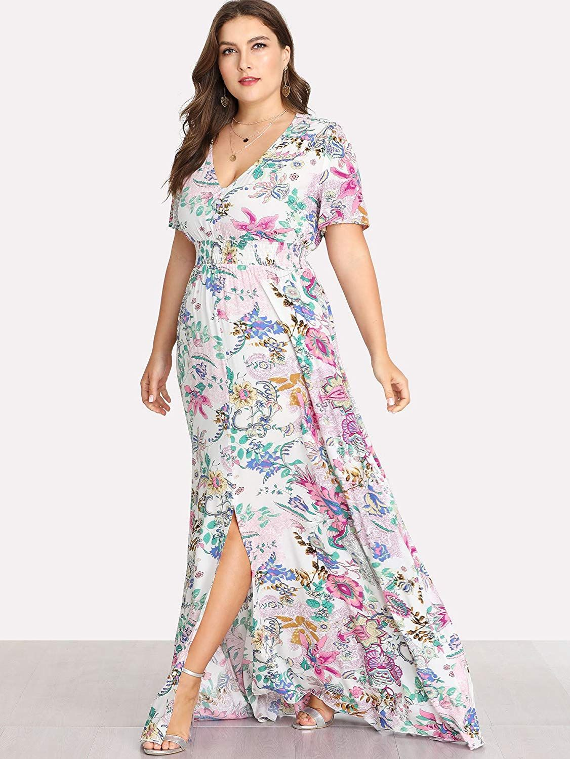 4a10c7cbbd Romwe Women's Plus Size Floral Print Buttons Short Sleeve Split Flowy Maxi  Dress #fall dresses to wear to a wedding #formal dresses short #tanktop  dress ...